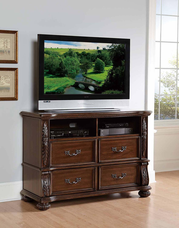 Homelegance Augustine Court TV Chest - Rich Brown Cherry