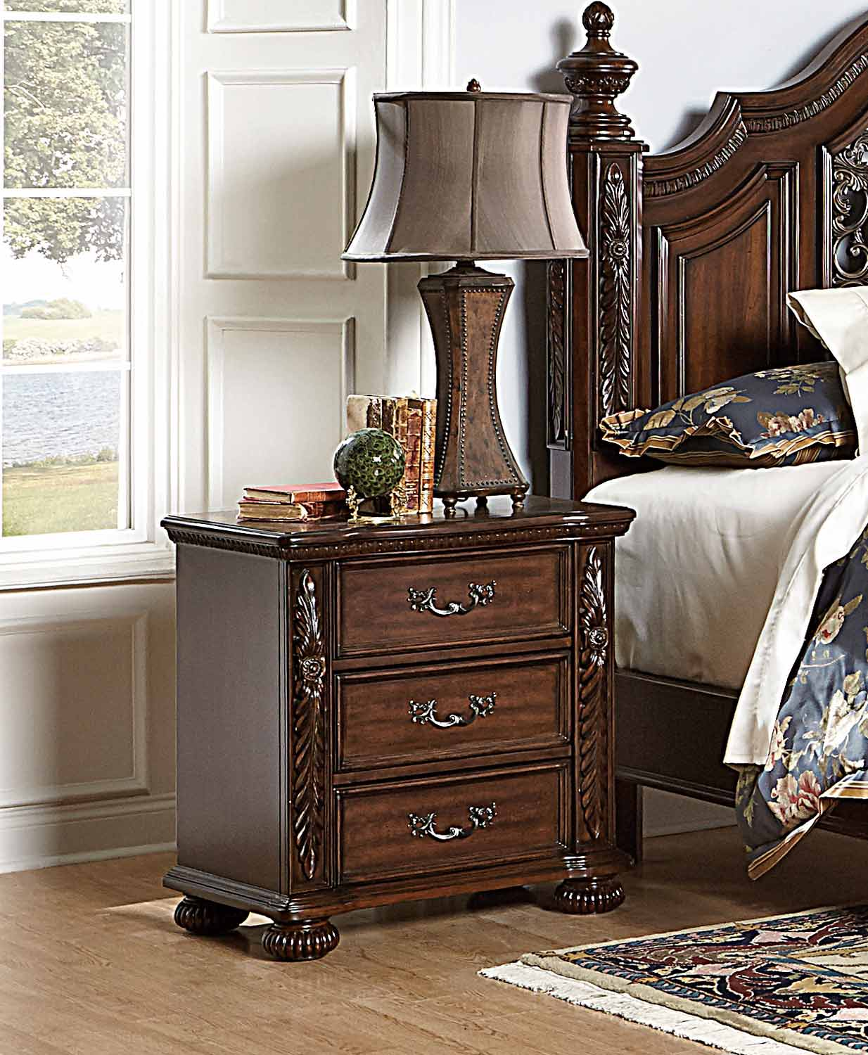 Homelegance Augustine Court Night Stand - Rich Brown Cherry