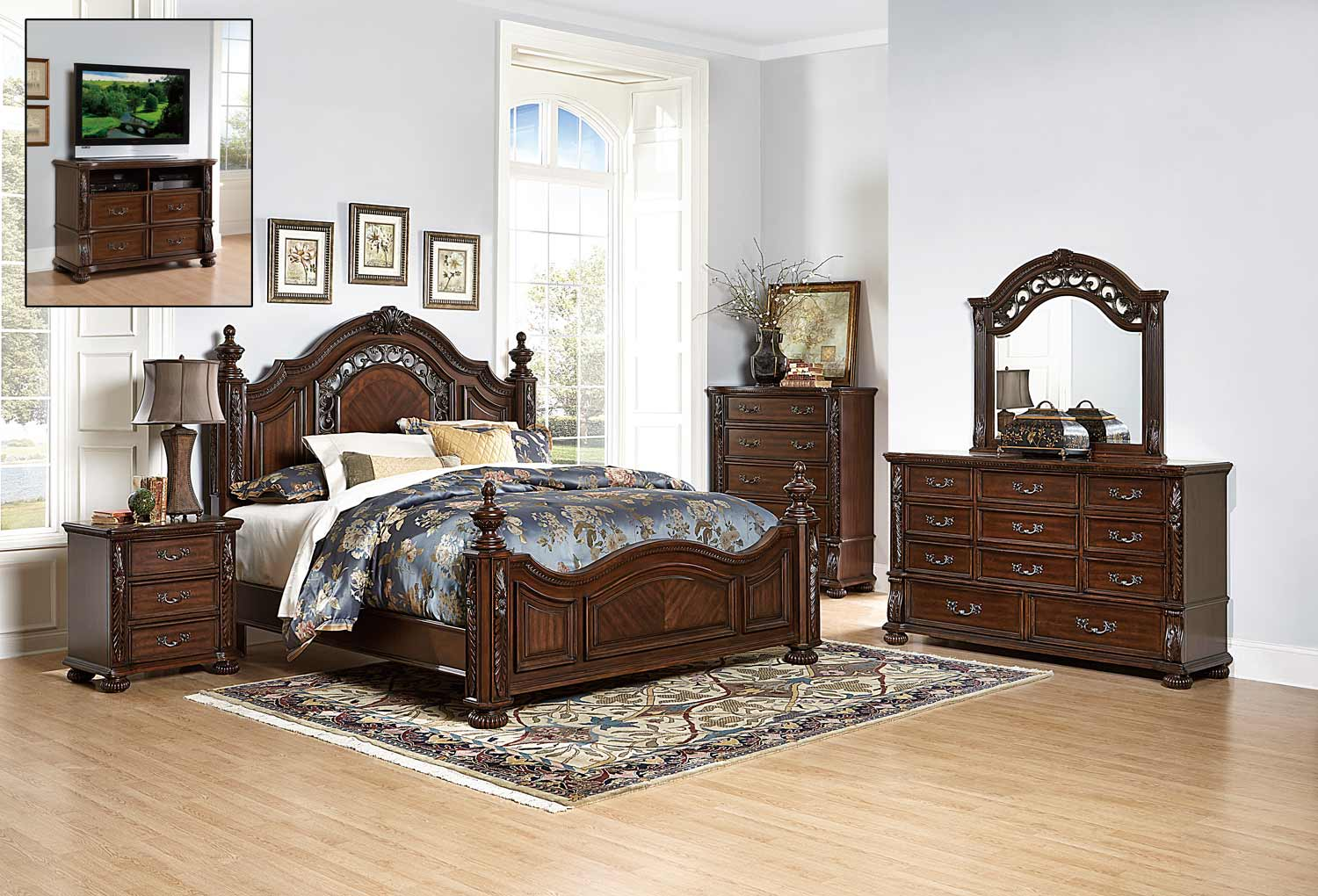 Homelegance Augustine Court Bedroom Set - Rich Brown Cherry