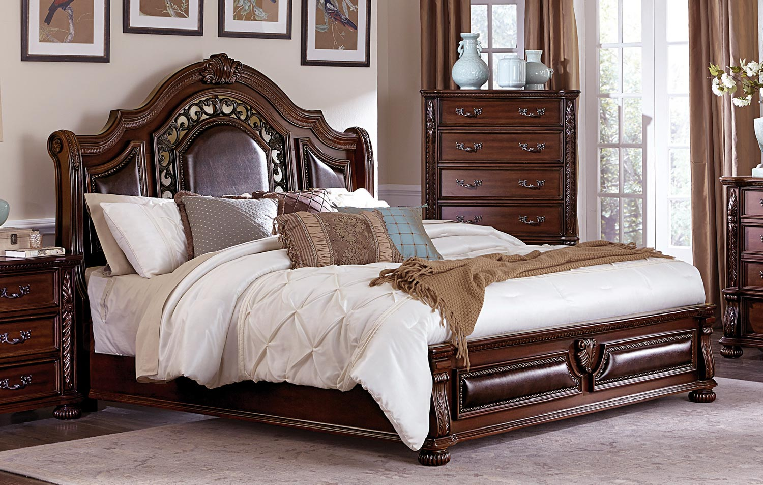 Homelegance Augustine Court Sleigh Upholstered Bed - Rich Brown Cherry