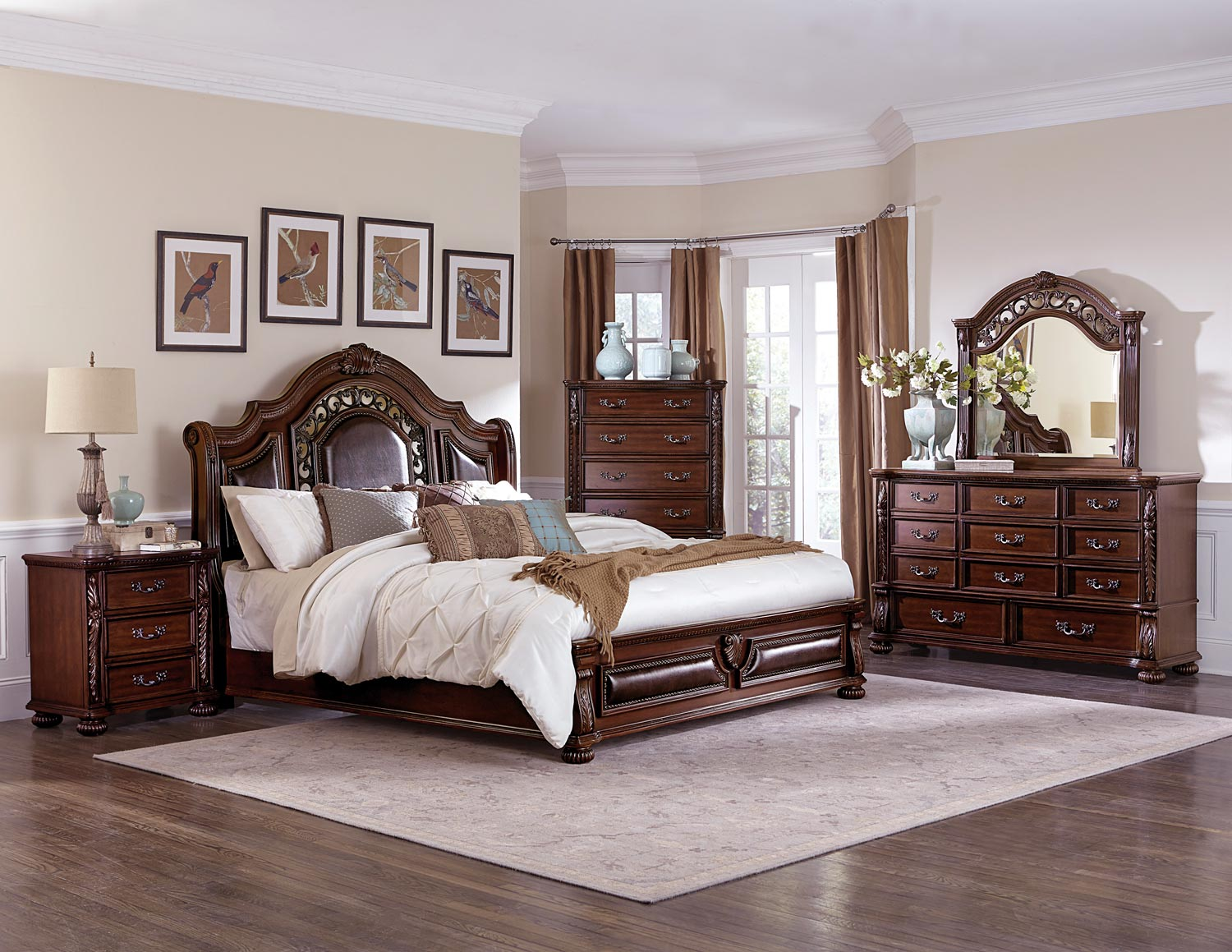 Homelegance Augustine Court Sleigh Upholstered Bedroom Set - Rich Brown Cherry