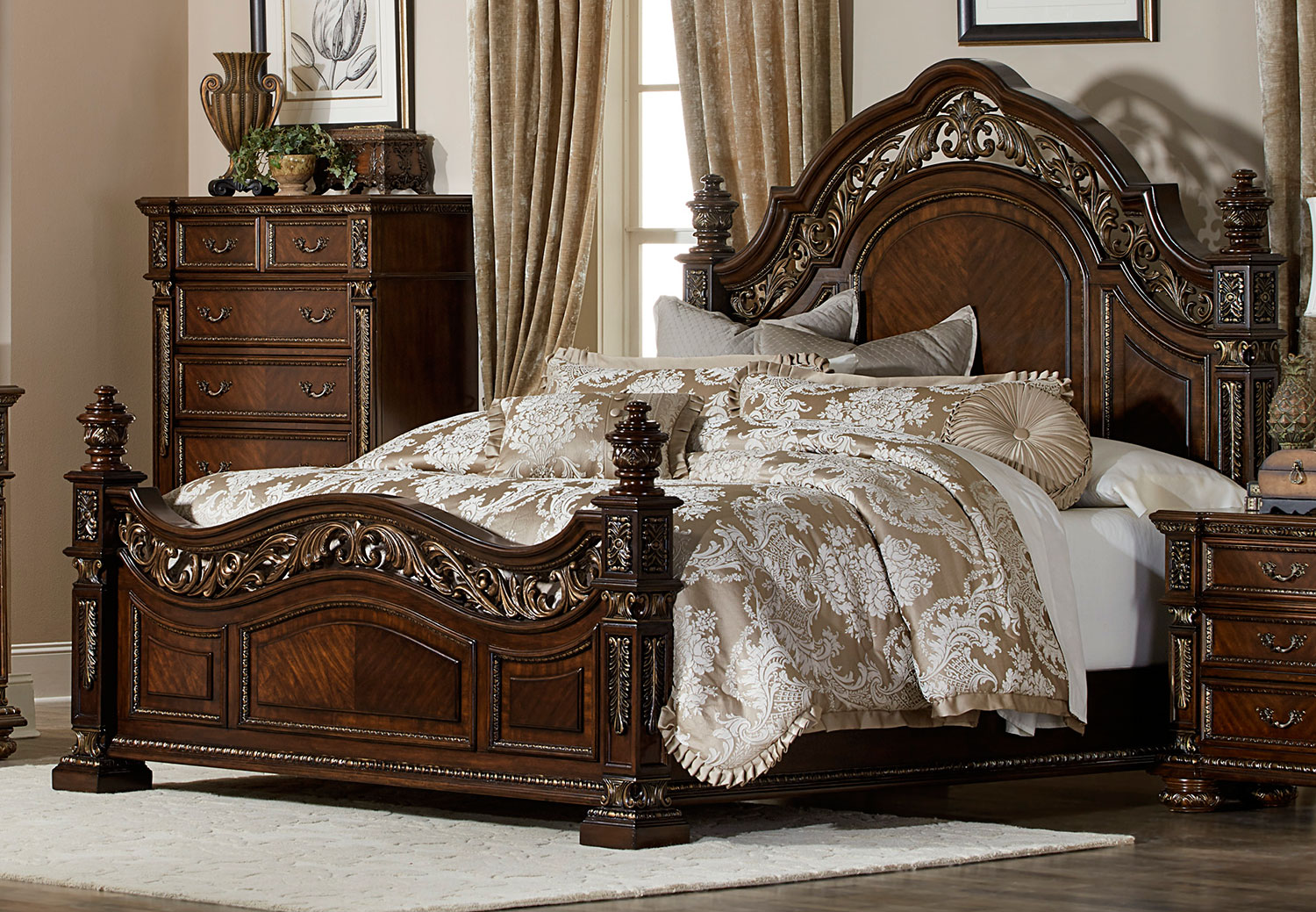 Homelegance Catalonia Bed - Cherry