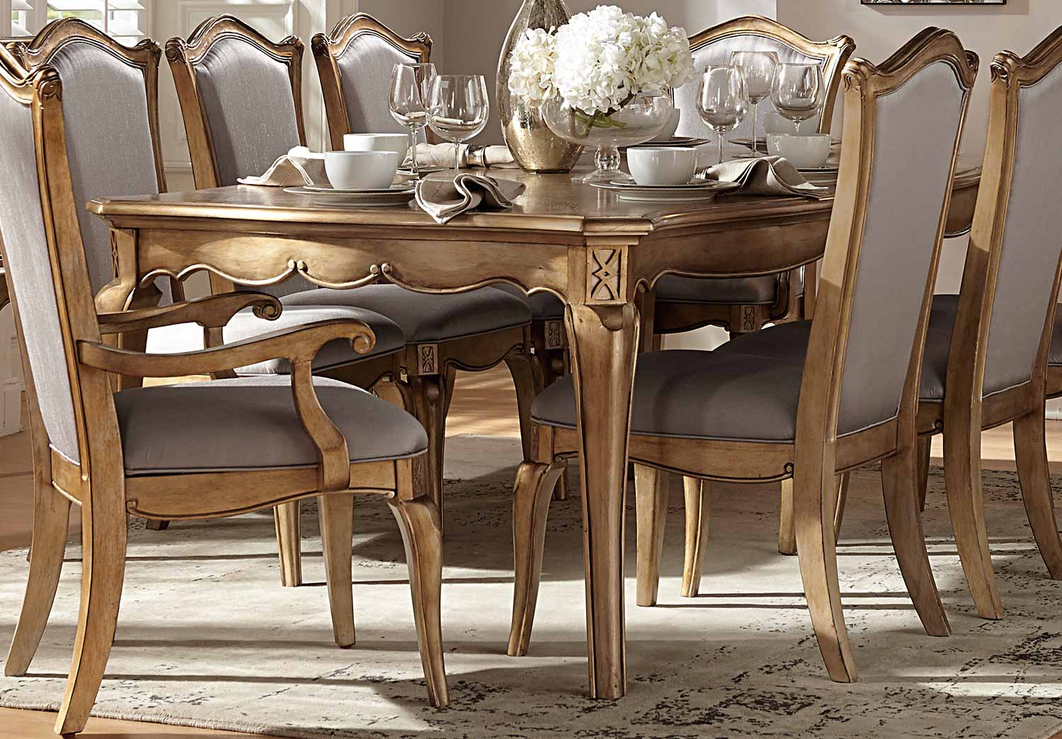 aaa74d153e2f Homelegance Chambord Dining Table - Antique Gold 1828-92 at ...