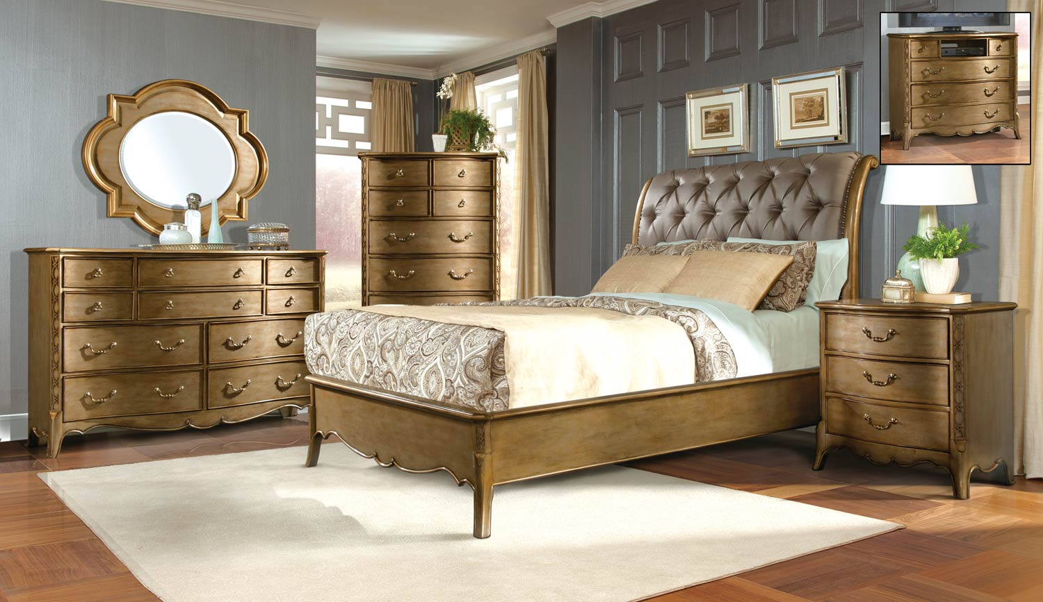 Homelegance Chambord Bedroom Set - Champagne Gold
