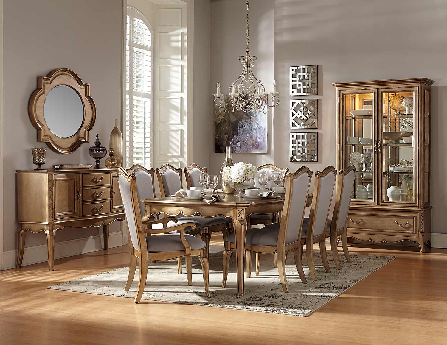 Homelegance Chambord Dining Set - Antique Gold