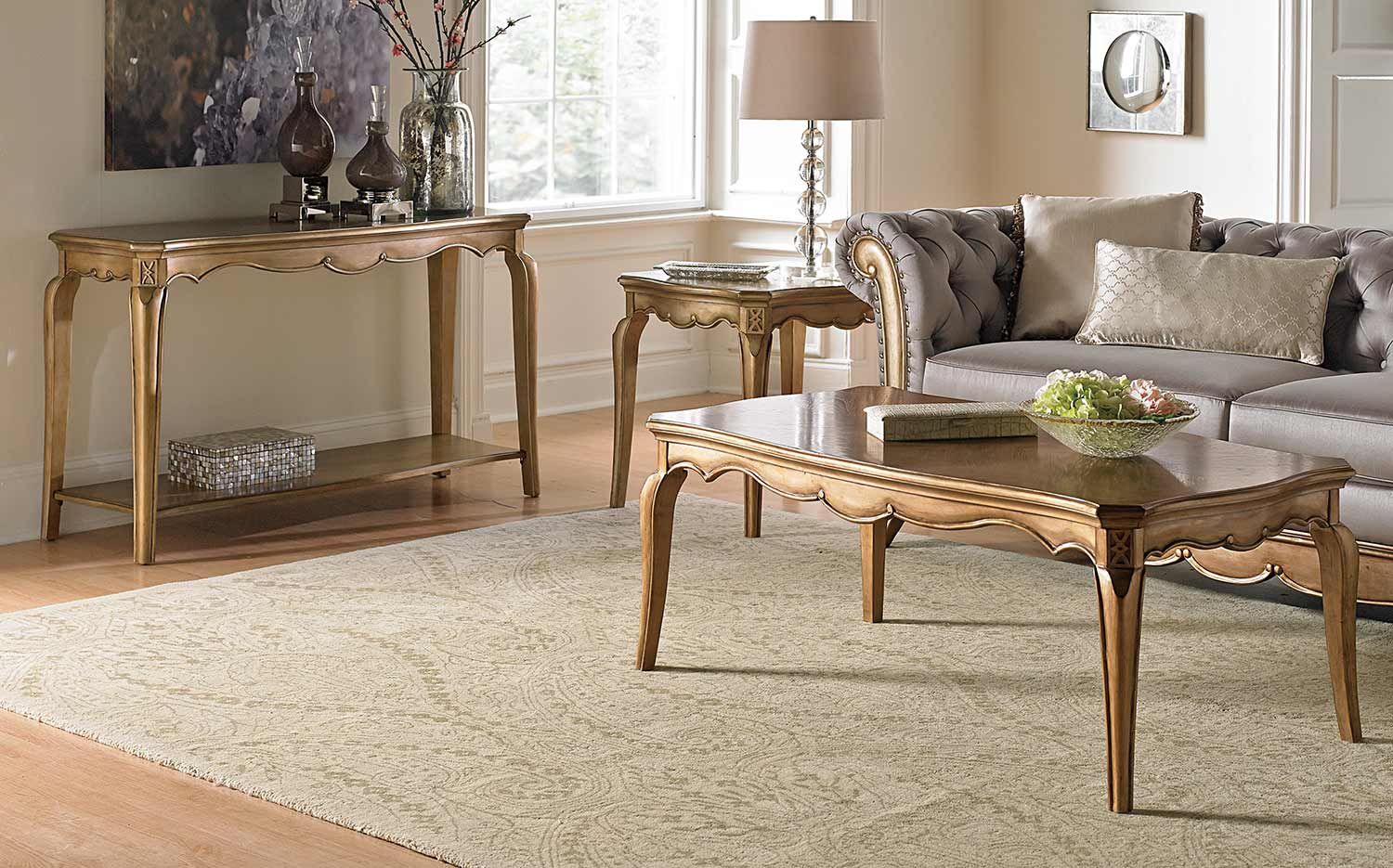 Homelegance Chambord Coffee Table Set Champagne Gold 1828