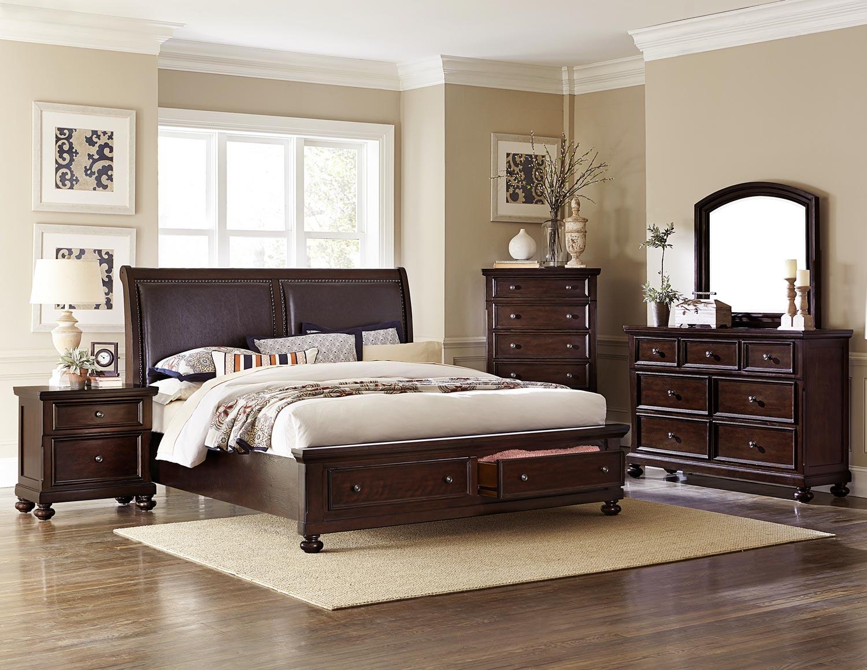 Homelegance Faust Upholstered Sleigh Platform Storage Bedroom Set - Dark Cherry