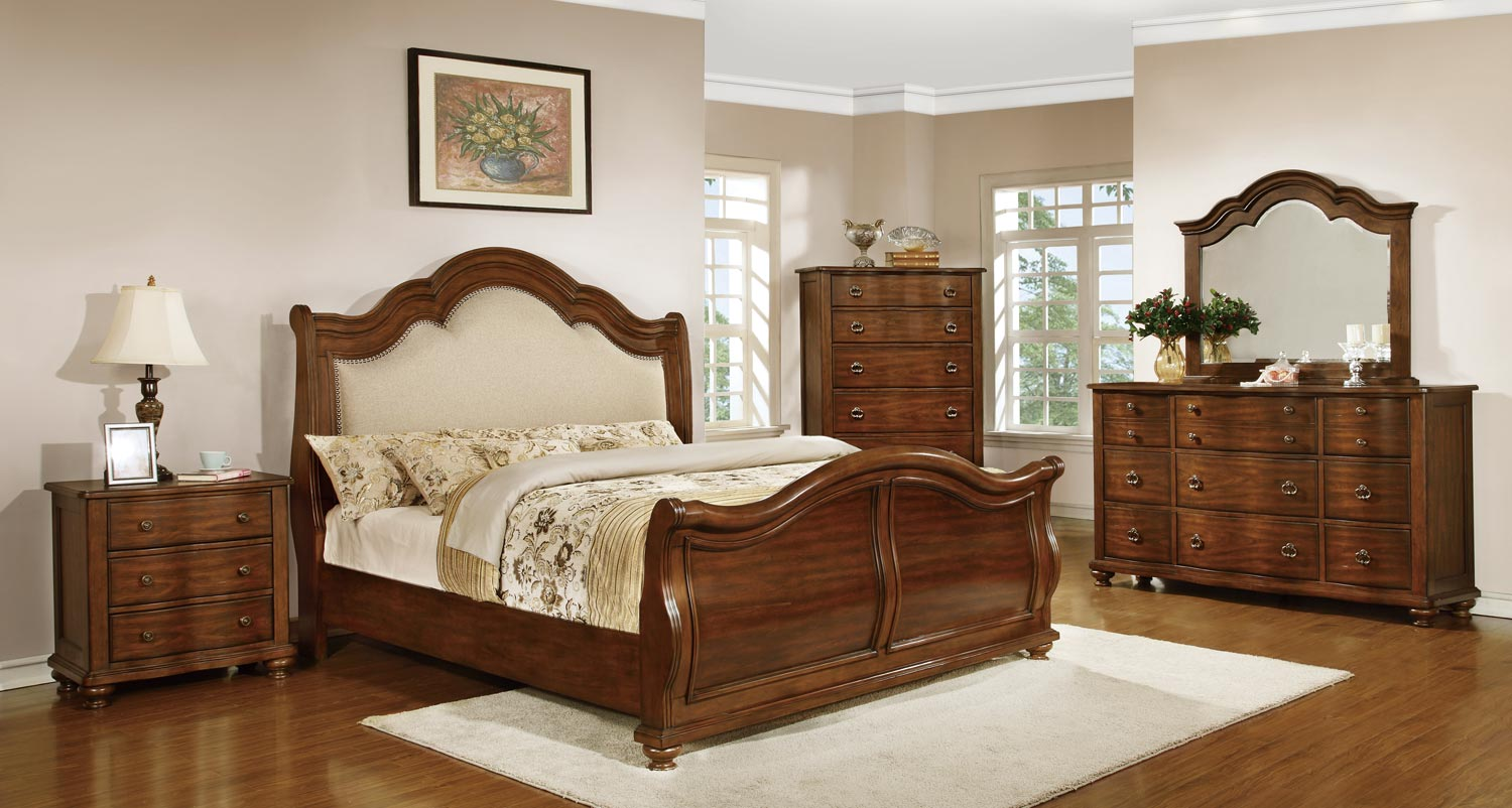 Homelegance Davina Bedroom Set - Brown Cherry