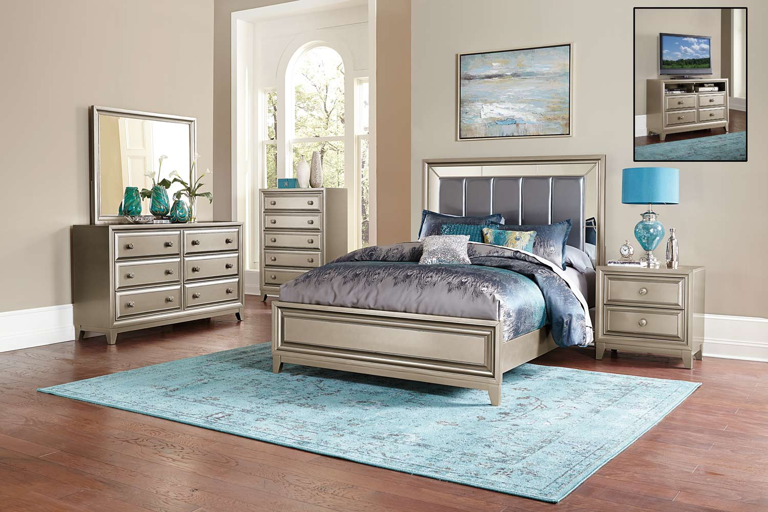 Homelegance Hedy Bedroom Set - silver