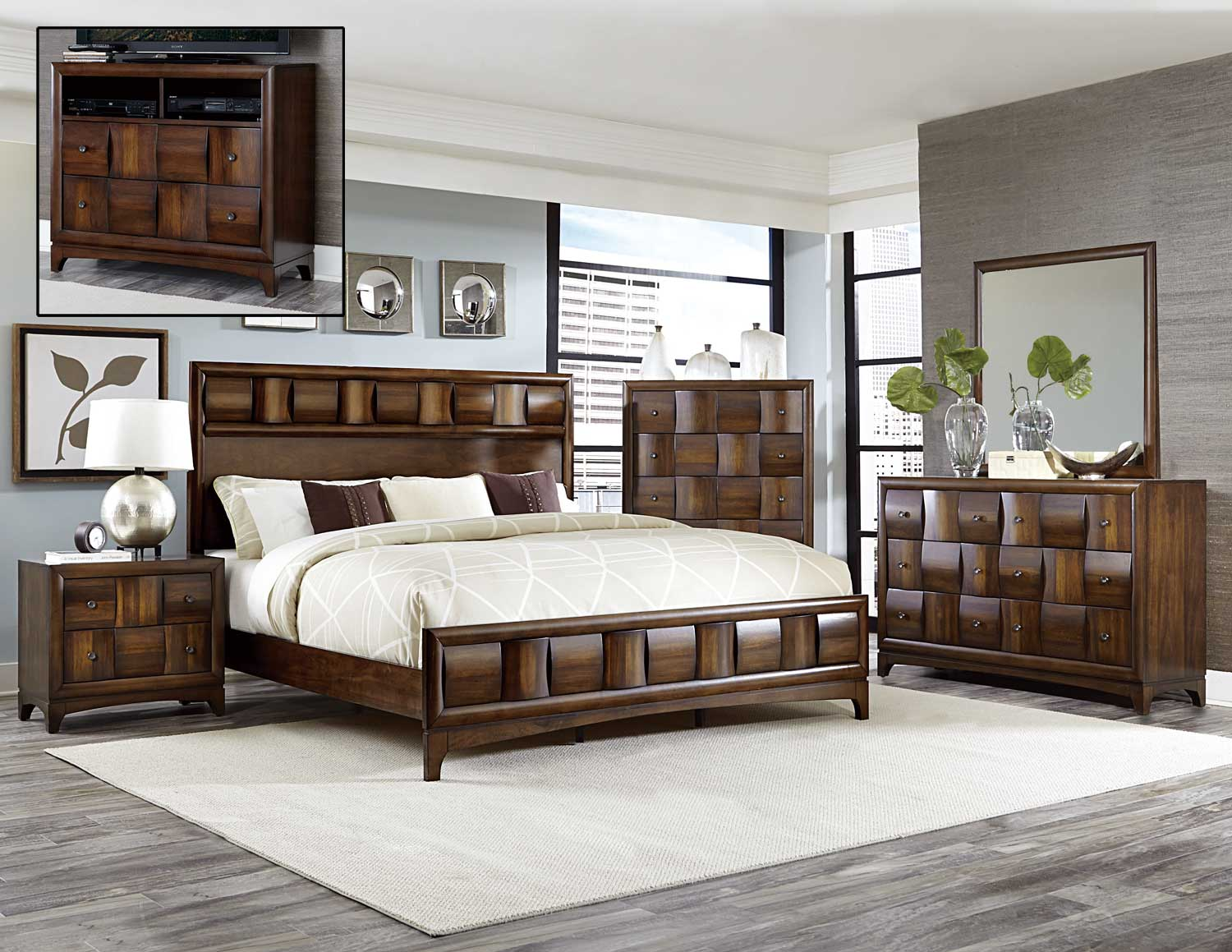 Homelegance Porter Bedroom Set Warm Walnut 1852 Bedroom Set At
