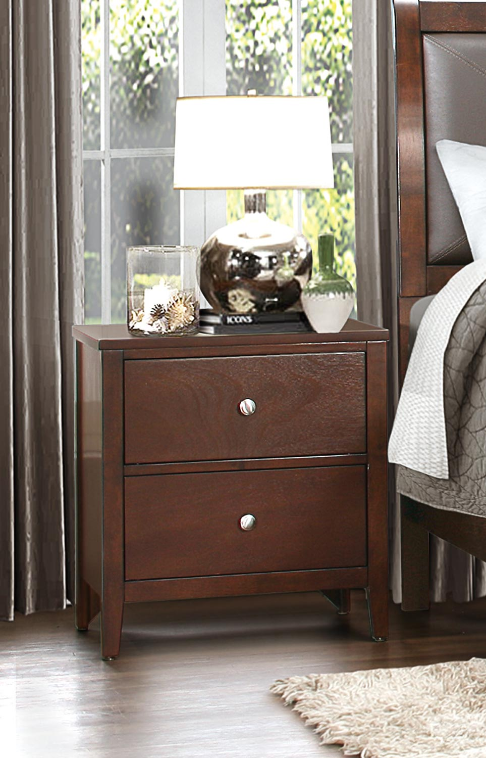 Homelegance Cullen Night Stand - Brown Cherry
