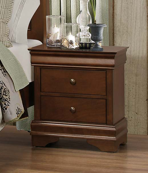 Homelegance Abbeville Night Stand - Hidden Drawer - Brown Cherry