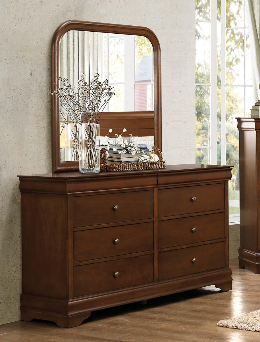 Homelegance Abbeville Dresser - Hidden Drawer - Brown Cherry