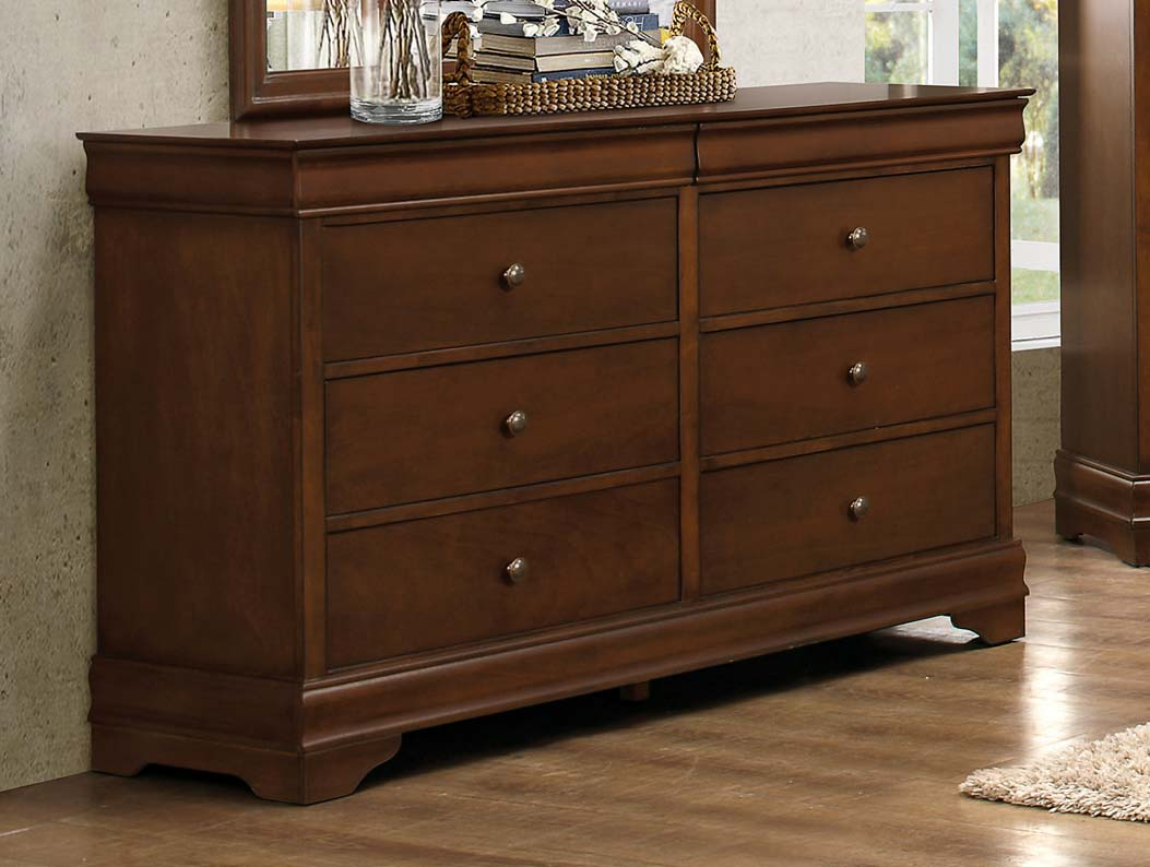 Homelegance Abbeville Dresser - Hidden Drawer - Brown Cherry