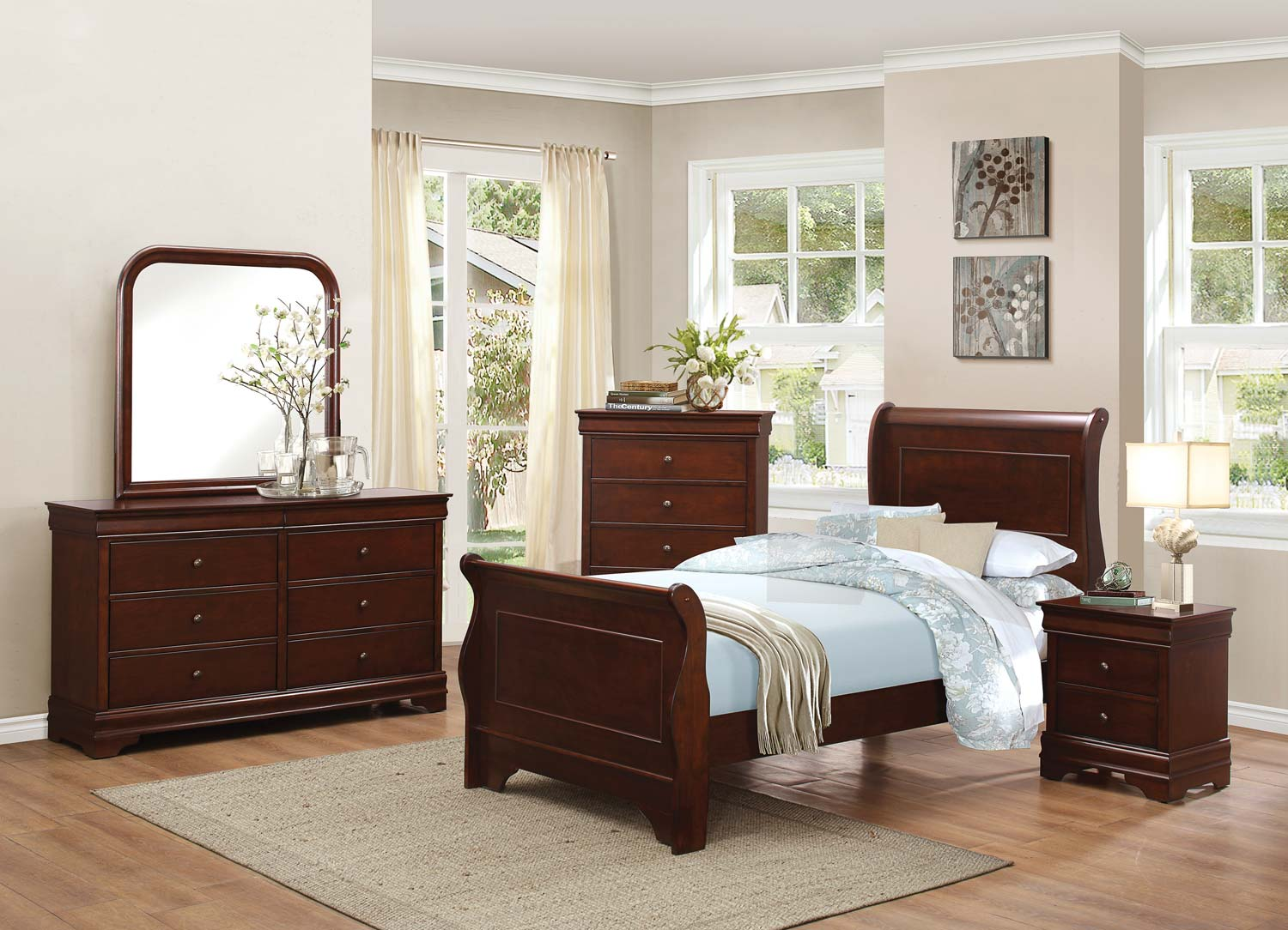 Homelegance Abbeville Sleigh Bedroom Set - Brown Cherry