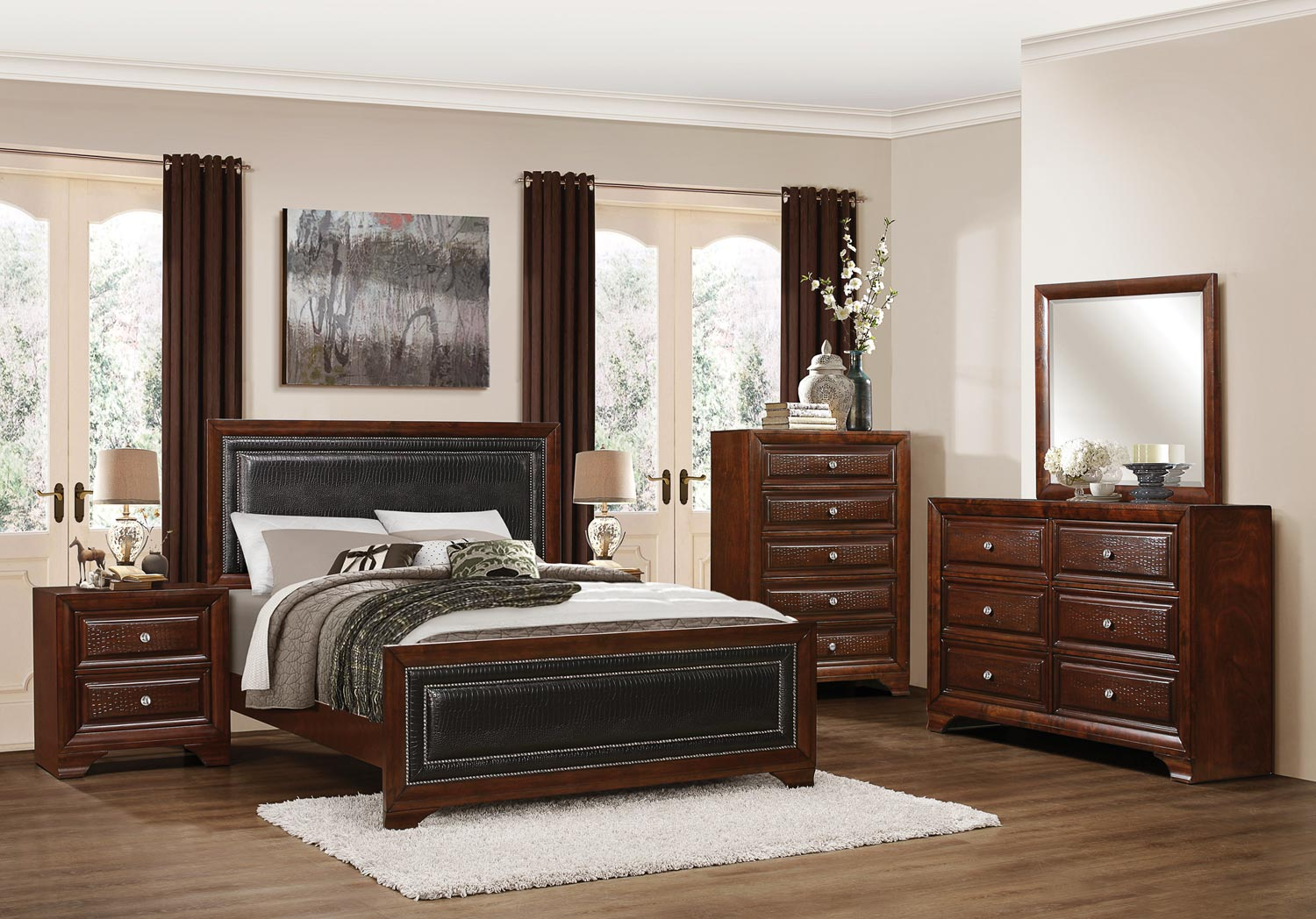 Homelegance Owens Panel Bedroom Set - Warm Cherry