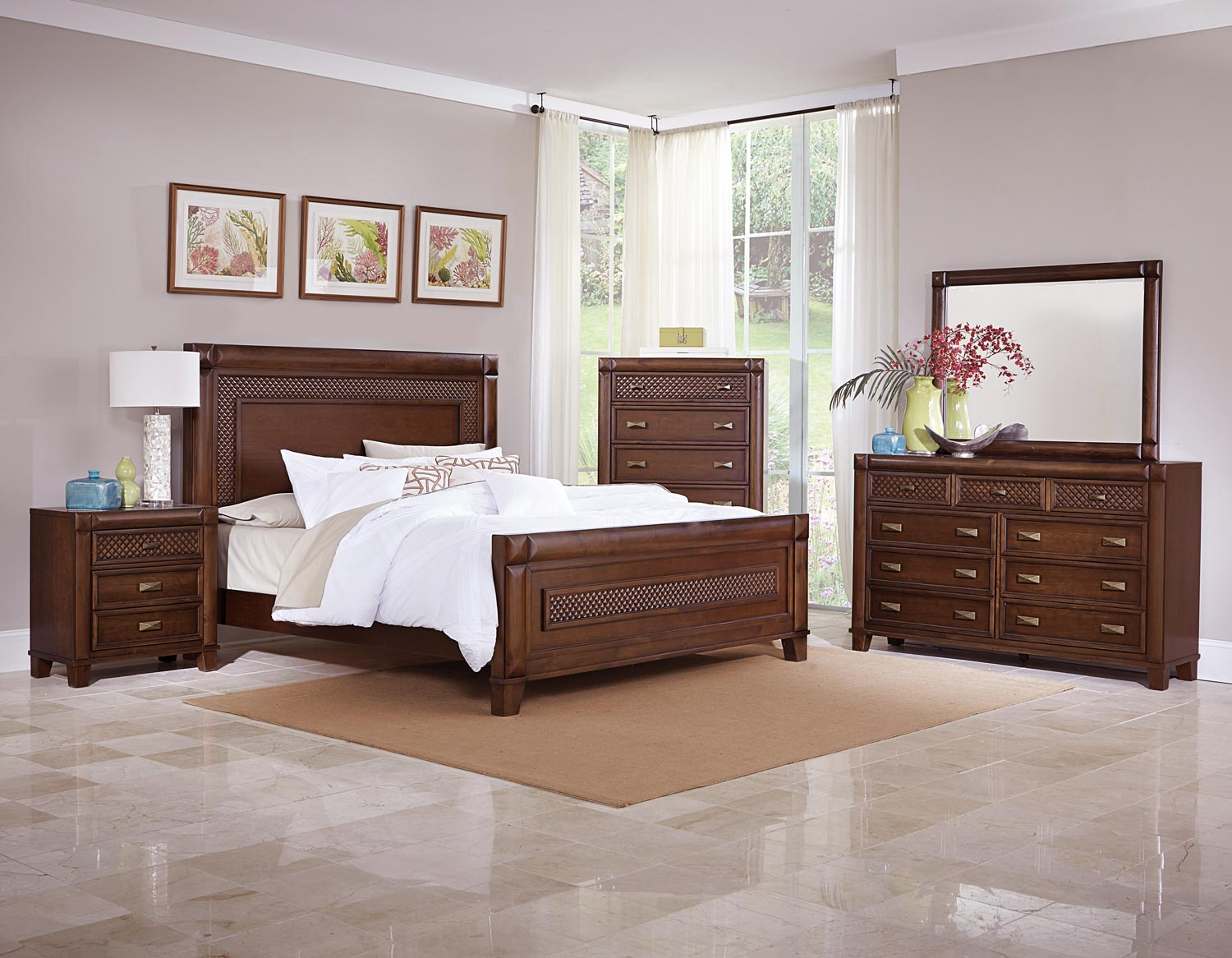 Homelegance Nealon Panel Bedroom Set - Warm Cherry