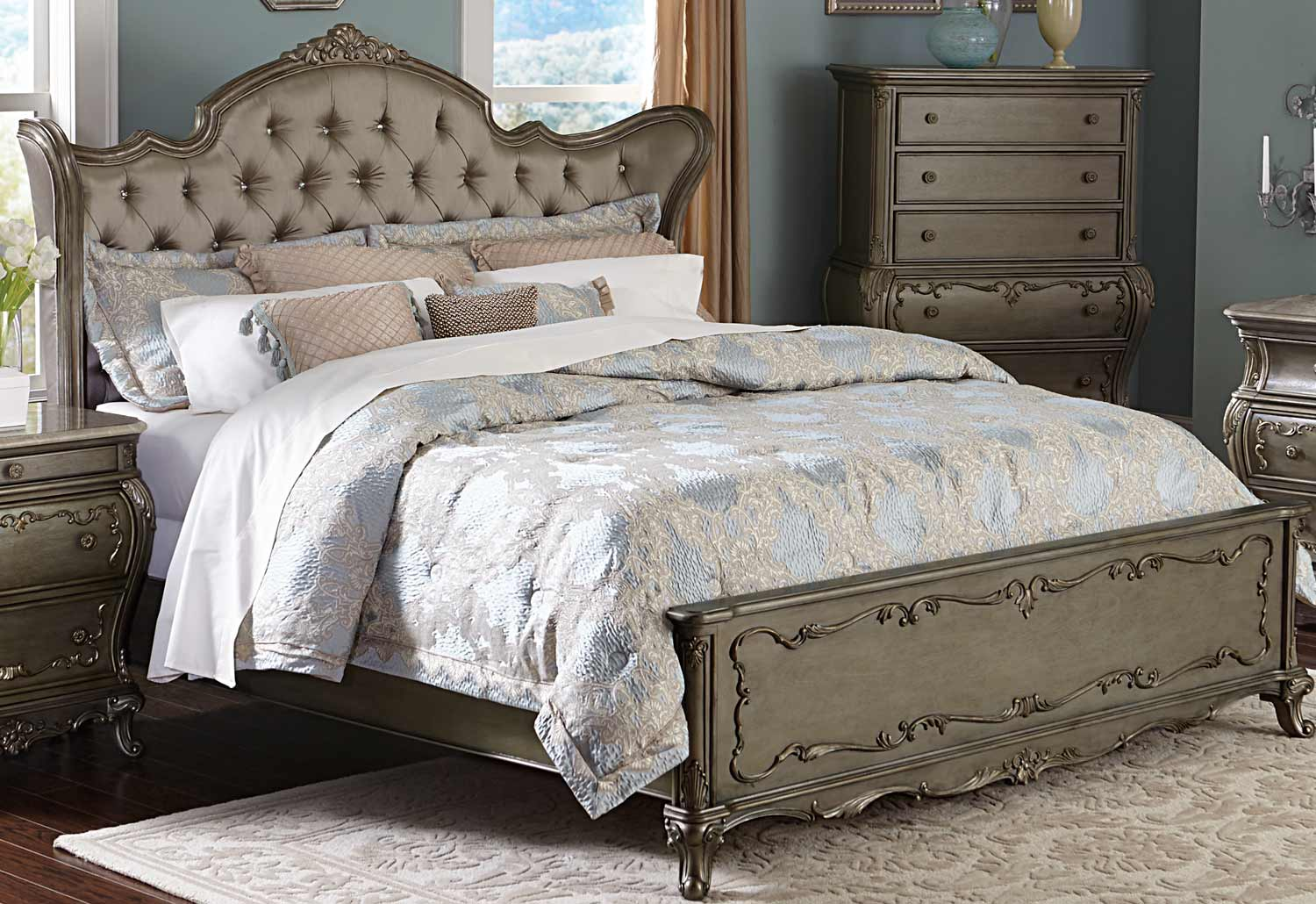 Homelegance Florentina Upholstered Bed - Silver/Gold