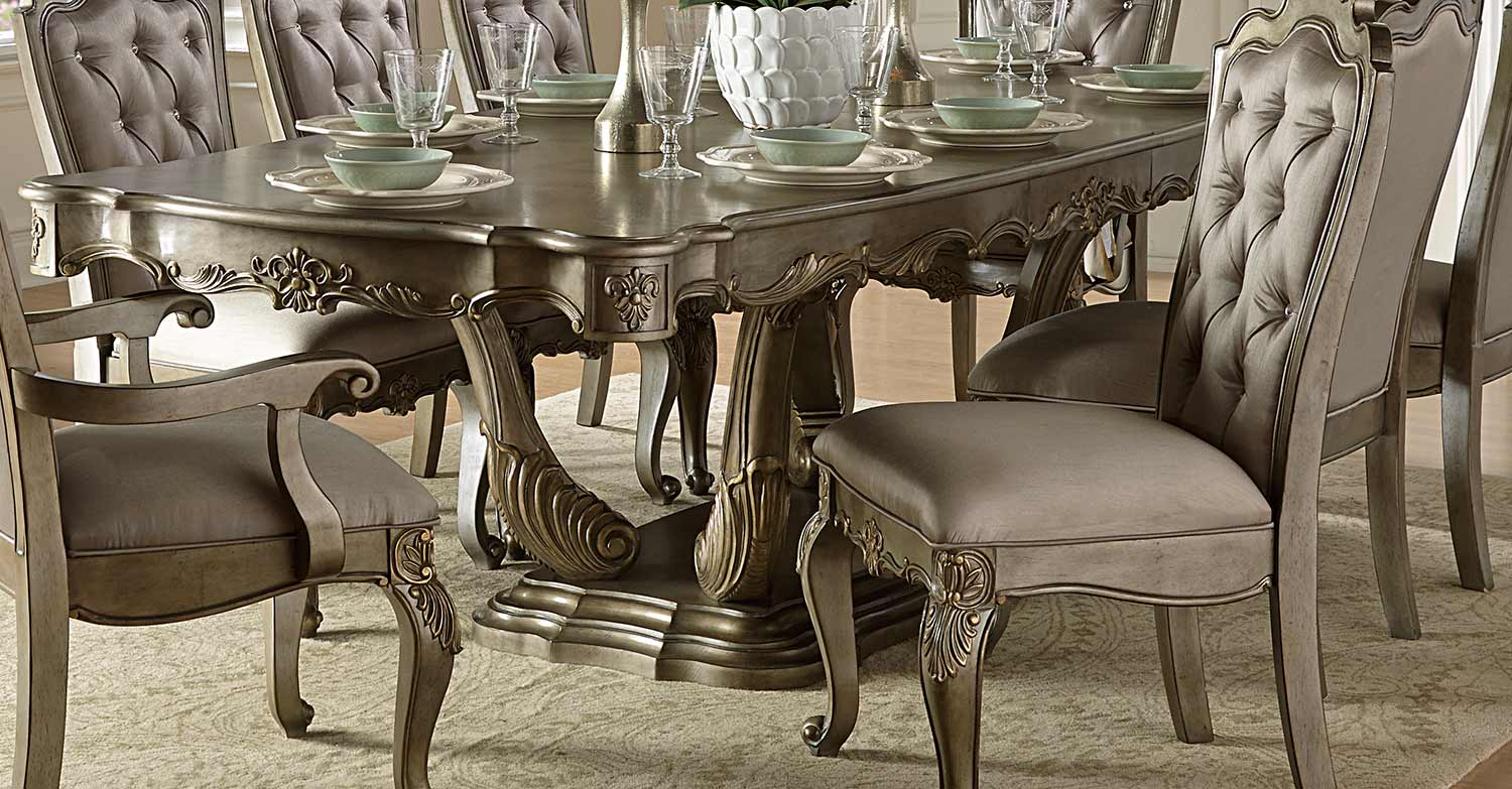 Homelegance Floina Dining Table Silver Gold