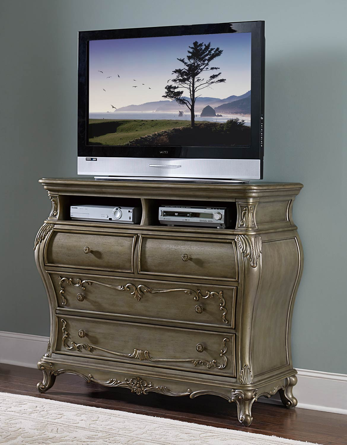 Homelegance Florentina TV Chest - Silver/Gold