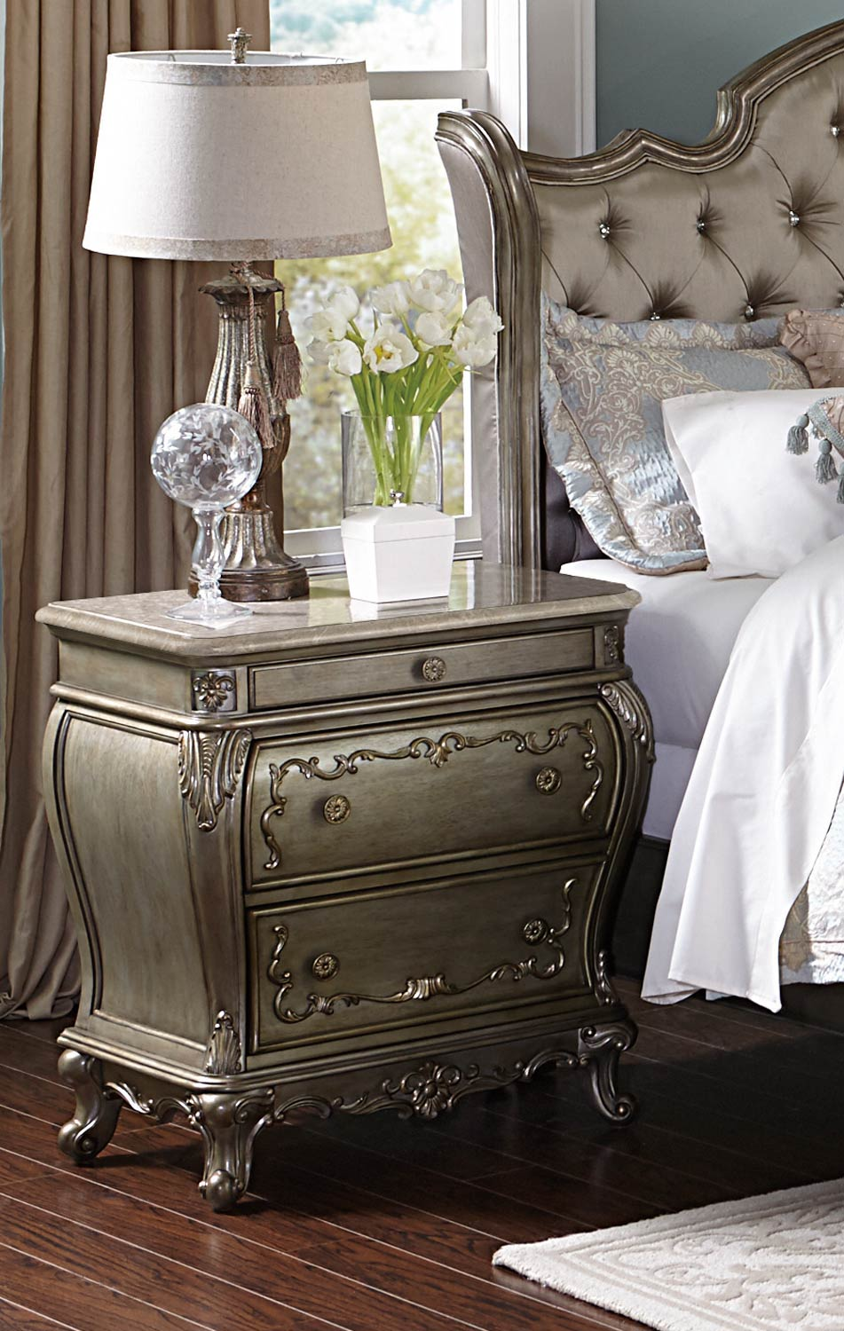 Homelegance Florentina Night Stand - Silver/Gold