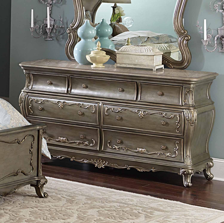 Homelegance Florentina Dresser - Silver/Gold