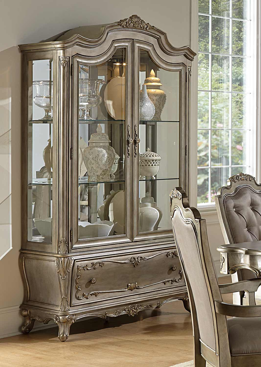 Homelegance florentina china cabinet silver gold 1867 50 55 at - Elegant contemporary curio cabinets furniture ...