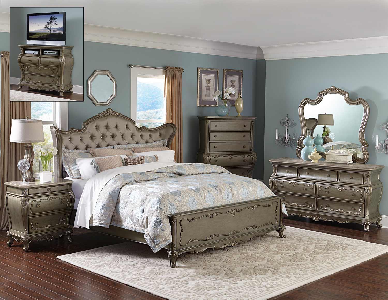 Homelegance Florentina Bedroom Set - Silver/Gold