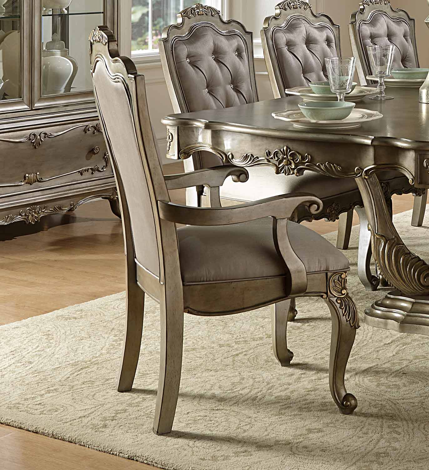 Homelegance Florentina Arm Chair - Silver/Gold