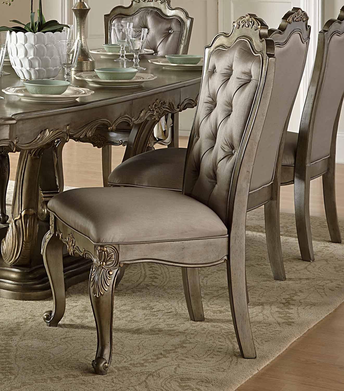Homelegance Florentina Side Chair - Silver/Gold