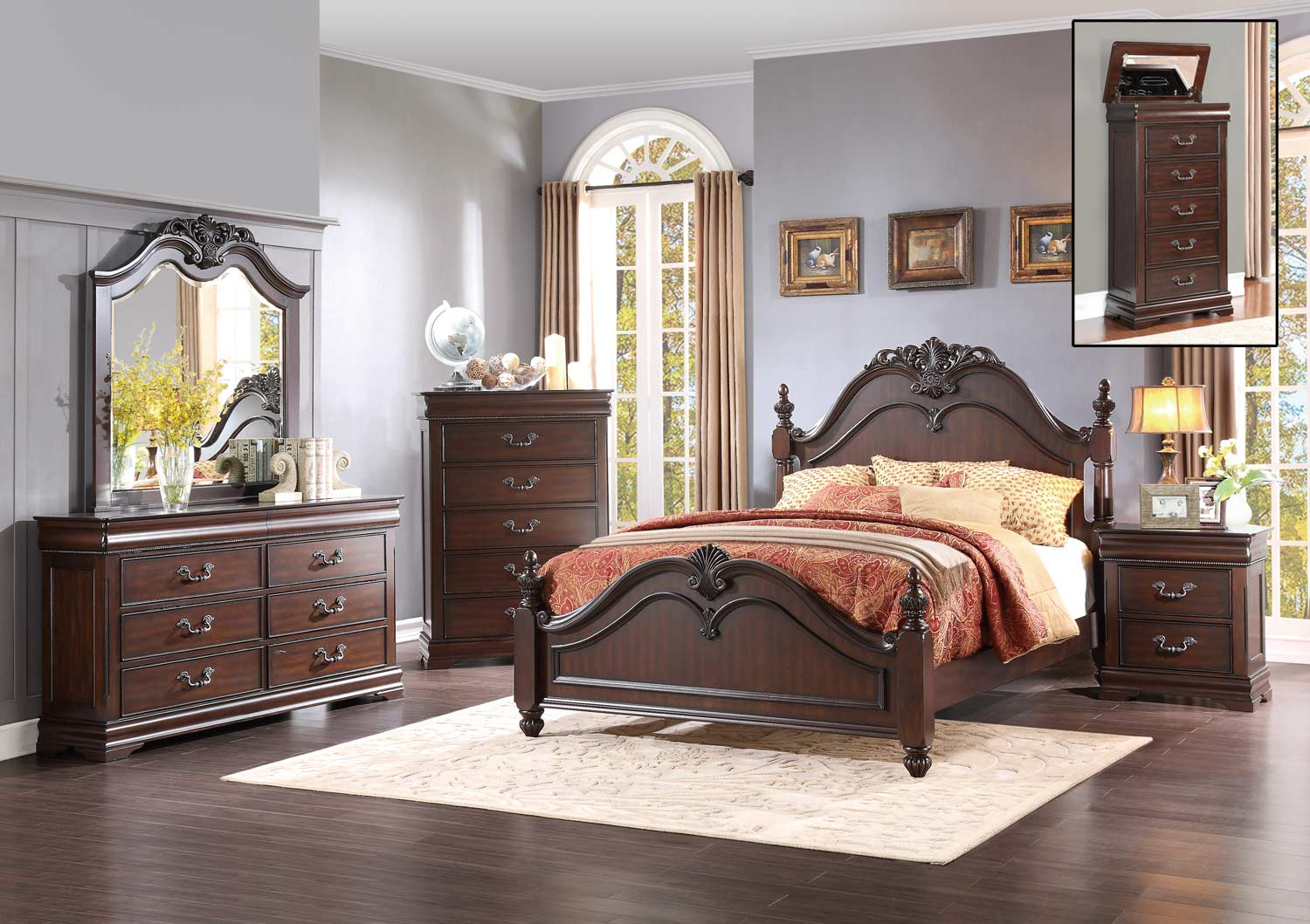 Homelegance Mont Belvieu Bedroom Set - Cherry