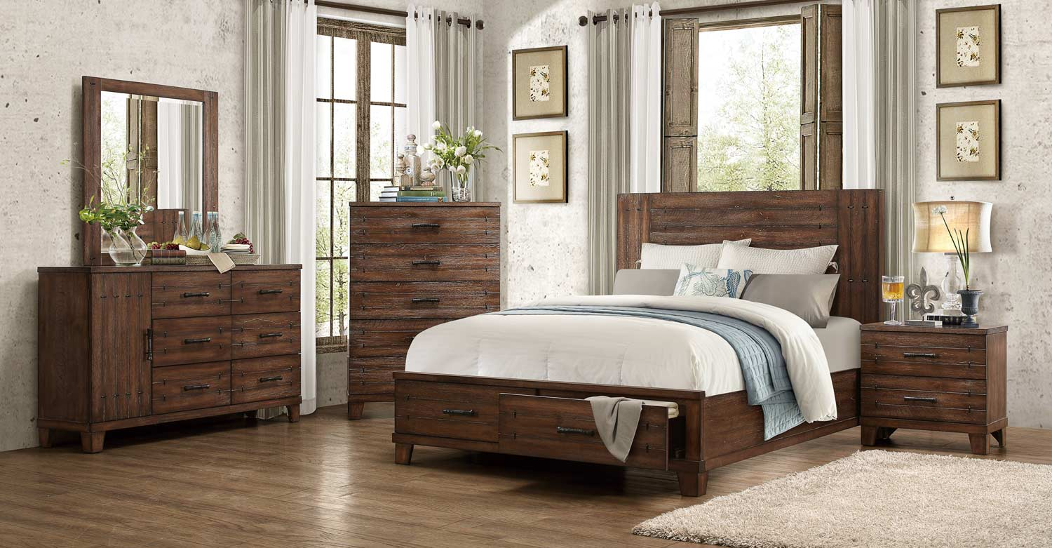 Homelegance Brazoria Bedroom Set Distressed Natural Wood 1877 BEDROOM SET A