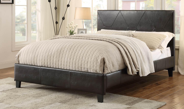 Homelegance De Leon Upholstered Platform Bed - Dark brown Bi-Cast Vinyl