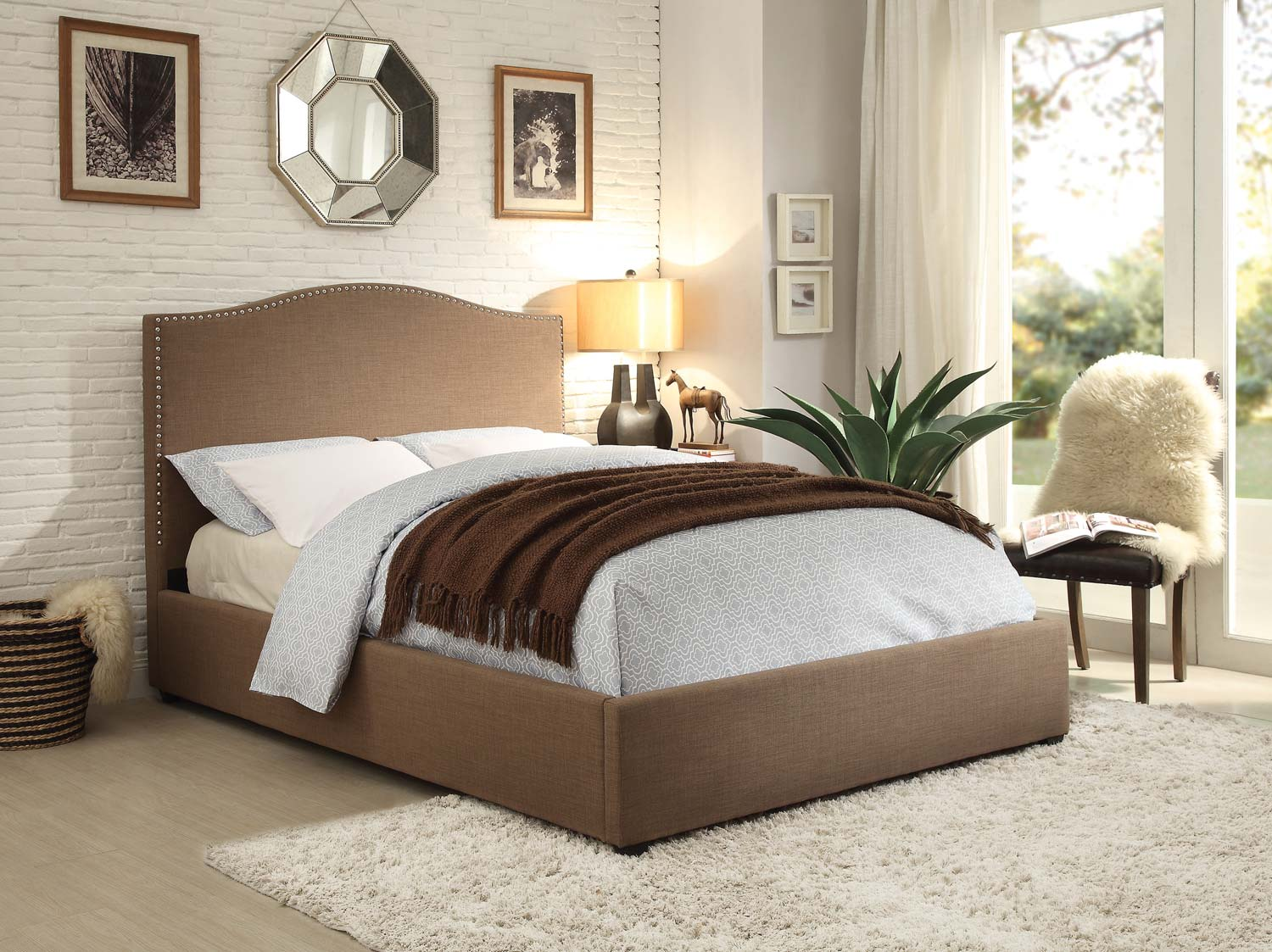 Homelegance Kase Upholstered Bed - Brown