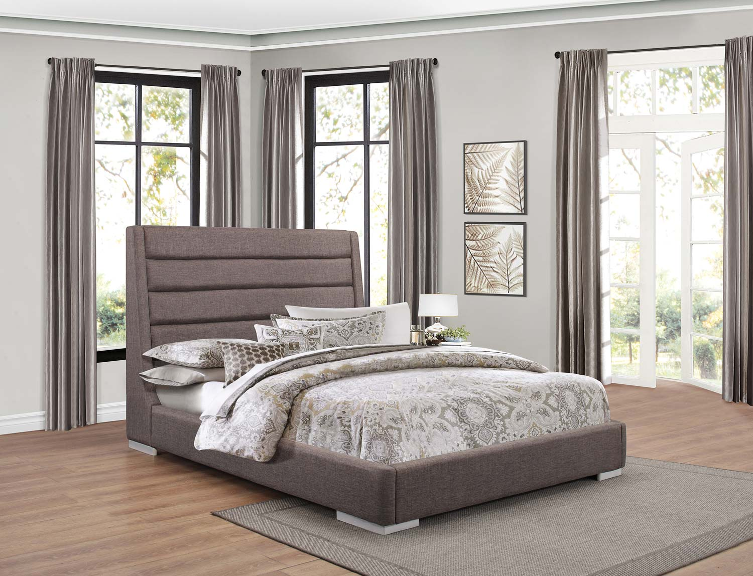 Homelegance Fabriana Upholstered Bed - Grey
