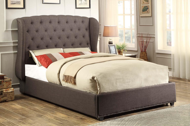 Homelegance Chardon Upholstered Wing Bed - Dark Grey