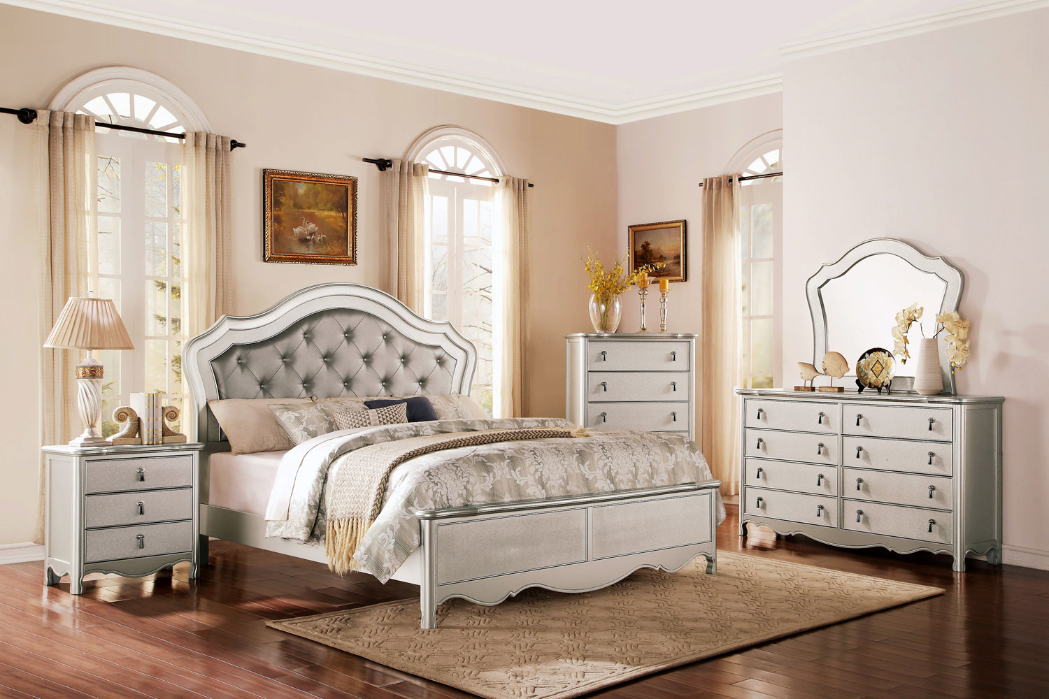 Homelegance Toulouse Upholstered Bedroom Set Champagne B1901 1 At