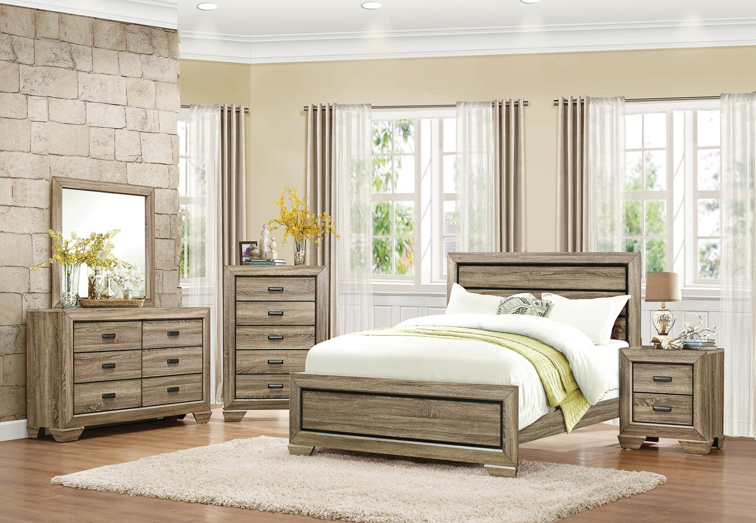 Homelegance Beechnut Panel Bedroom Set - Light Elm