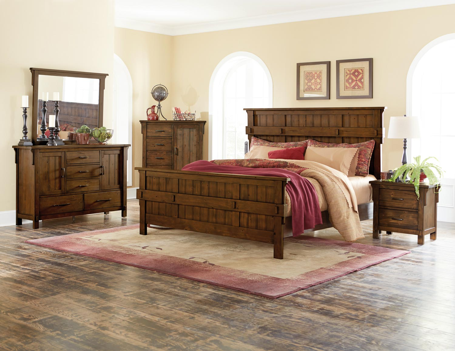Homelegance Terrace Panel Bedroom Set - Rustic Burnish Oak