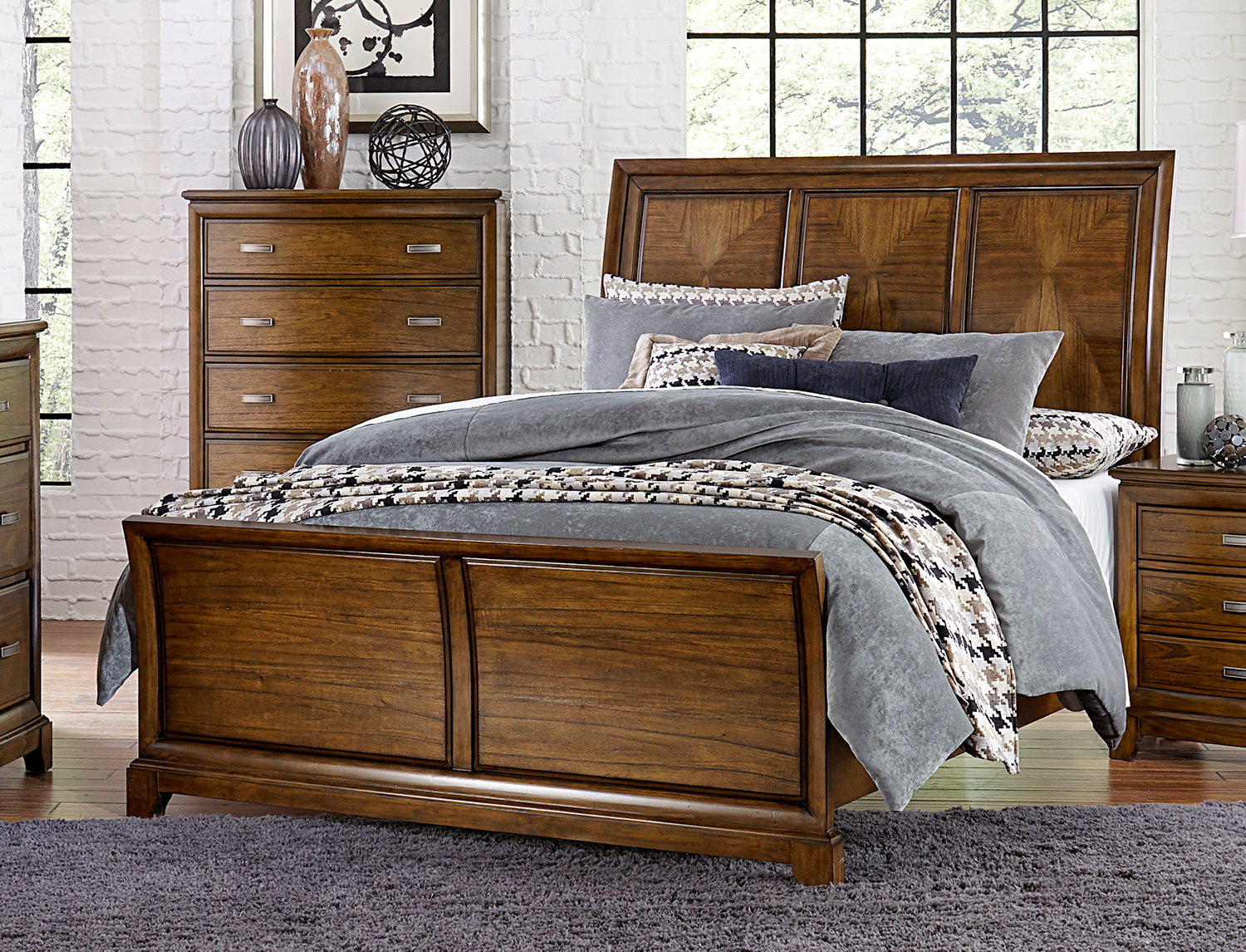 Homelegance Terron Sleigh Bed - Medium Oak
