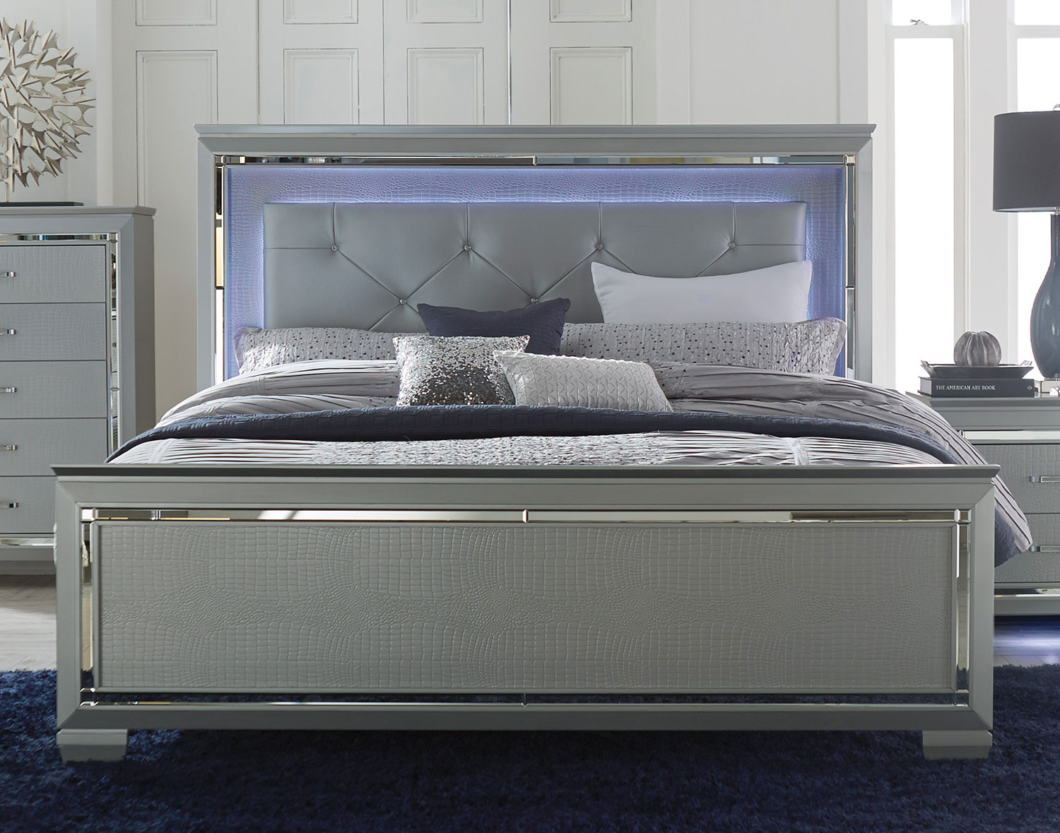 Homelegance Allura Bed with LED Lighting - Silver