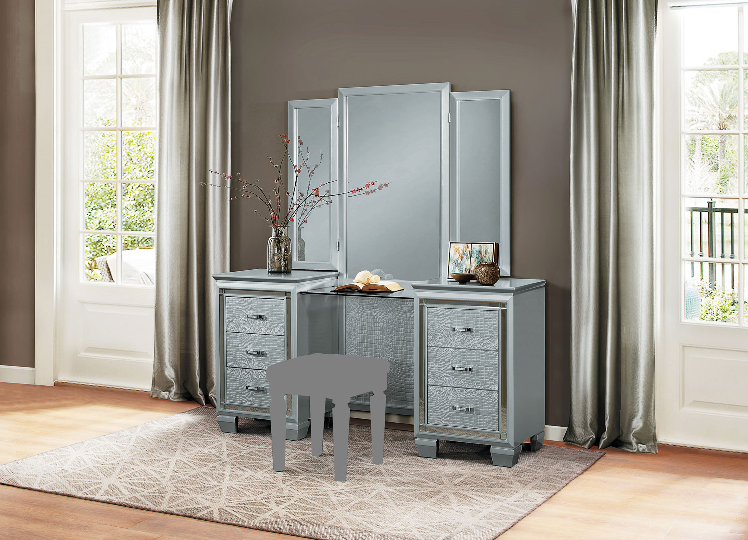 Homelegance Allura Vanity with Mirror - Silver