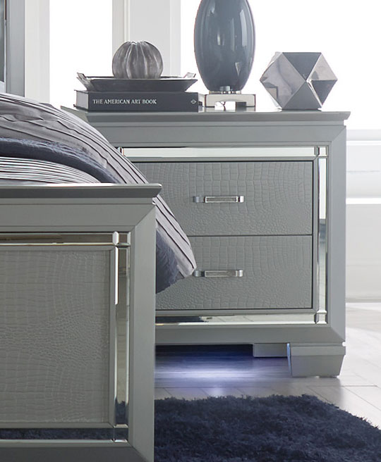Homelegance Allura Night Stand with LED Lighting - Silver