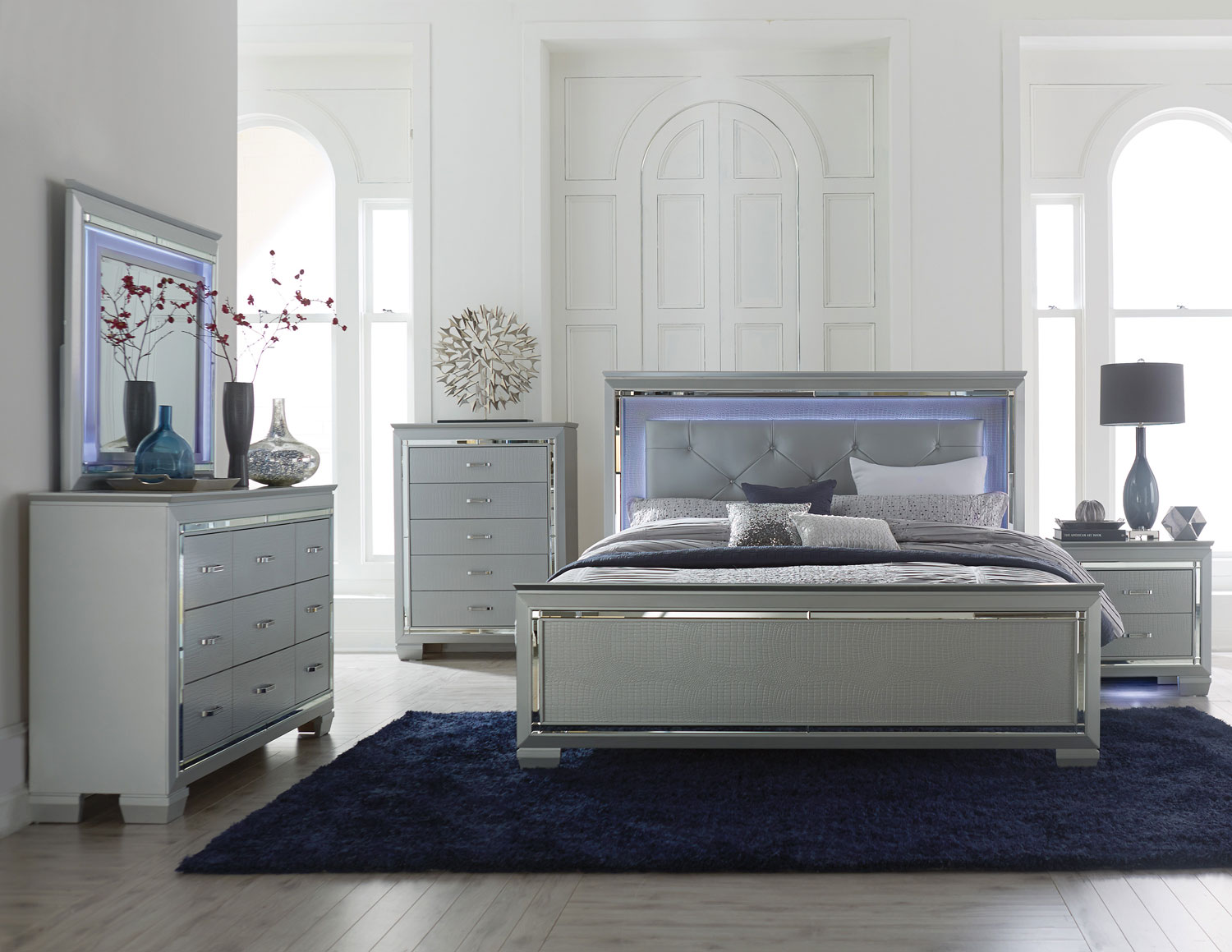 Homelegance Allura Bedroom Set with LED Lighting - Silver