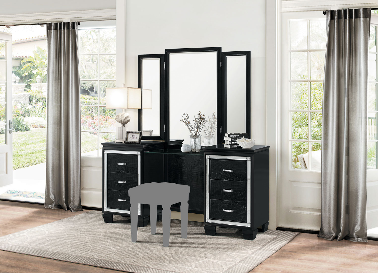 Homelegance Allura Vanity with Mirror - Black