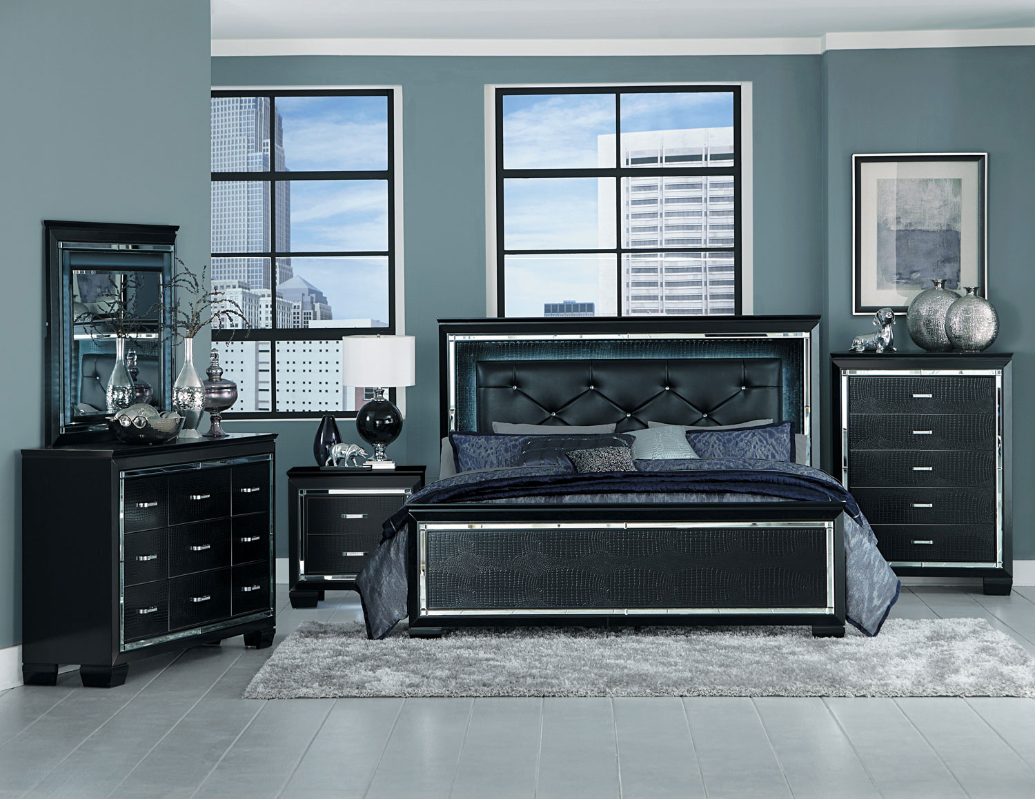 Homelegance Allura Bedroom Set with LED Lighting - Black