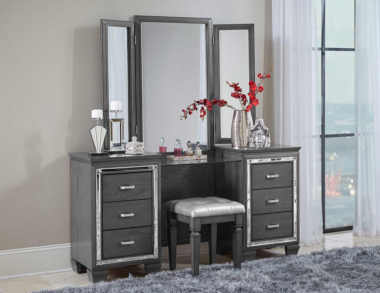 Homelegance Allura Vanity with Mirror - Gray