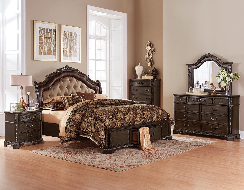 Homelegance Londrina Upholstered Platform Storage Bedroom Set - Cherry