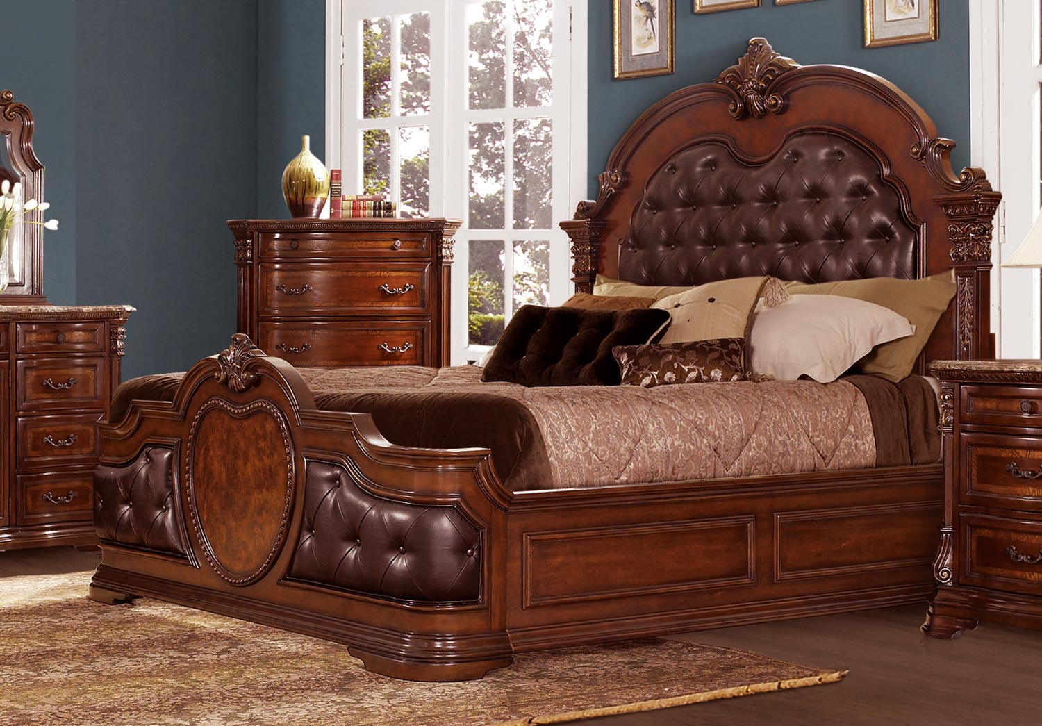 Homelegance Antoinetta Upholstered Bed Warm Cherry