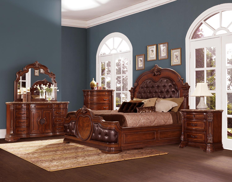 Homelegance Antoinetta Upholstered Bedroom Set - Warm Cherry